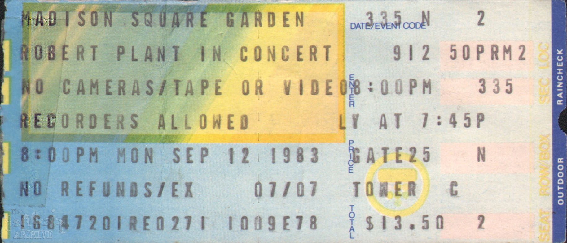 Ticket Robert Plant Madison Square Gardens 12th September The Genesis Archive