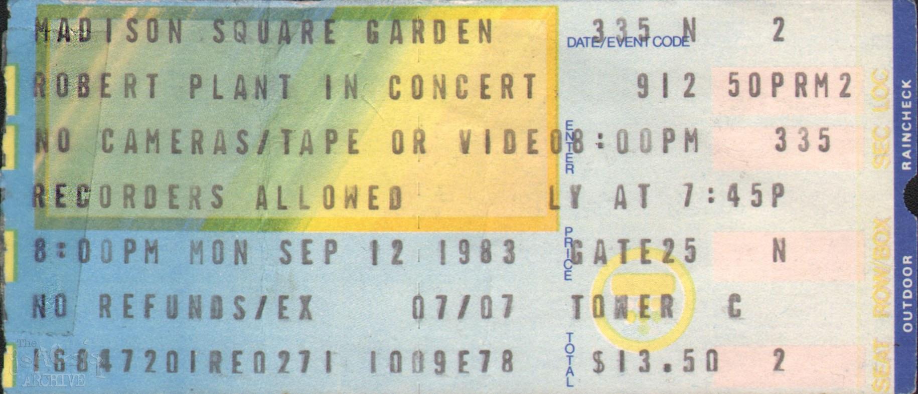 Ticket Robert Plant Madison Square Gardens 12th
