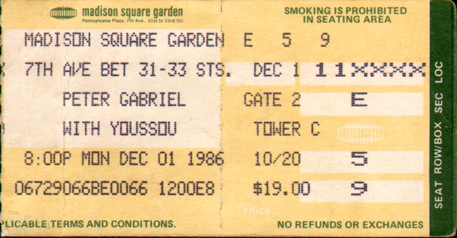 Ticket Pg Madison Square Garden 1st December The