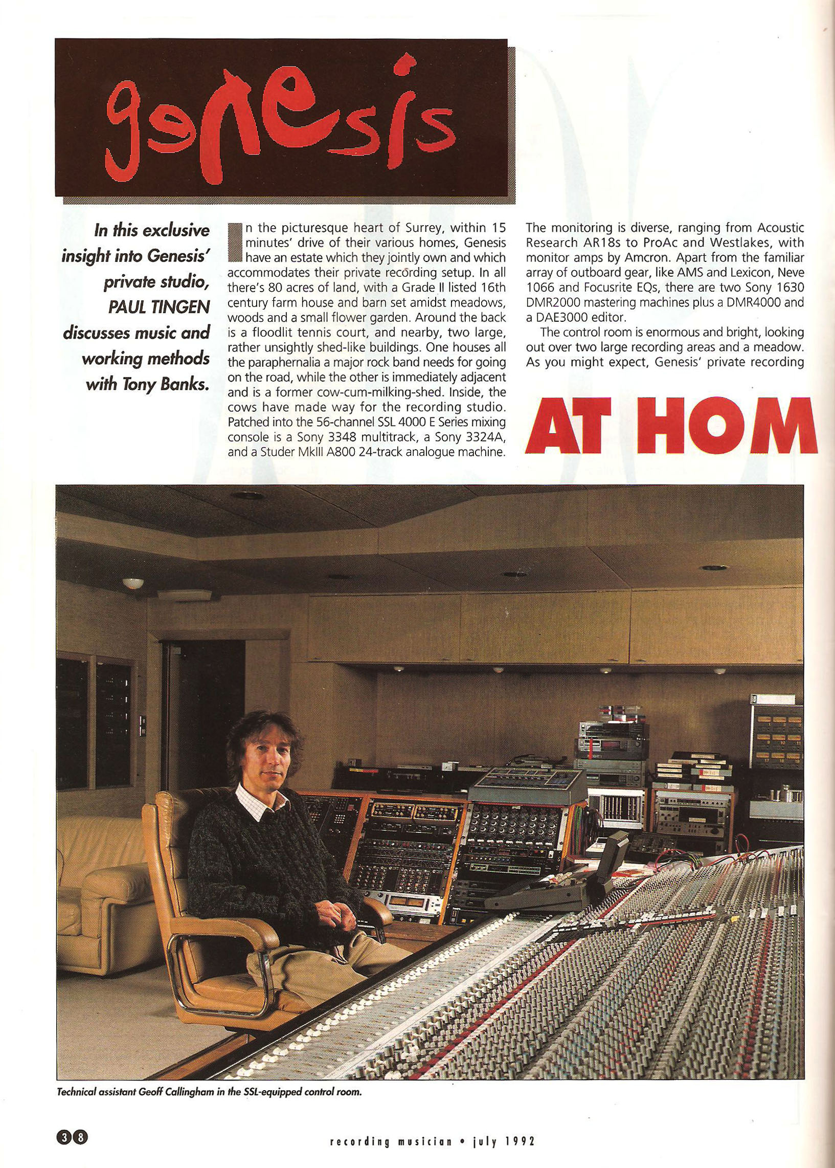 Recording Musician July 1992 Tony Banks Main Interview