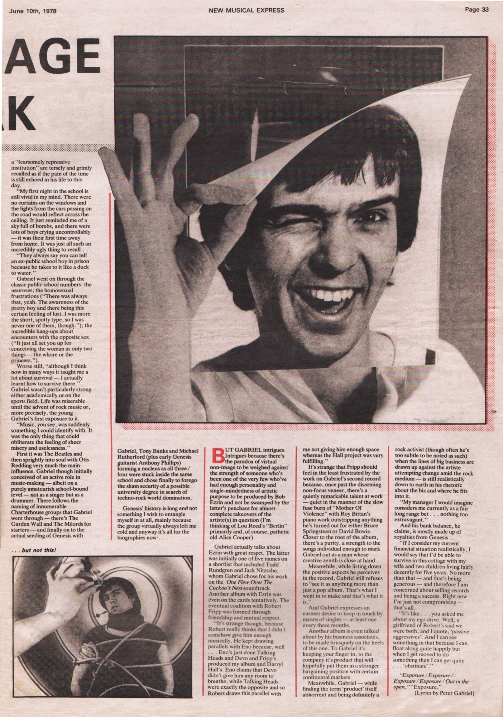 Interview – Peter Gabriel – NME – 10th June 1978 – The