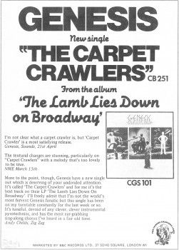 Advert – Carpet Crawlers Single – Melody Maker – 10th May - 1975
