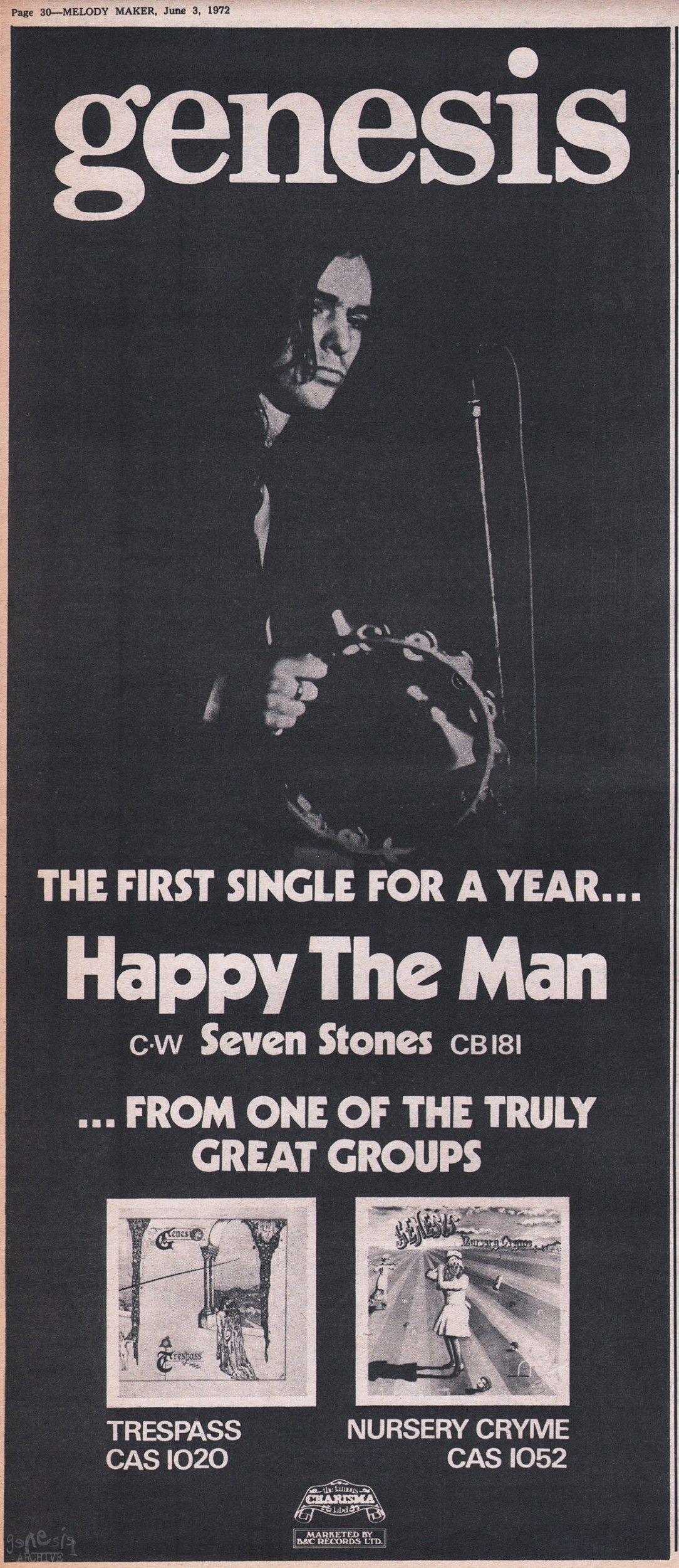 genesis happy the man single Discografia completa de genesis  (single b-side 1973) happy the man (single a-side 1971) watcher of the skies tradução.