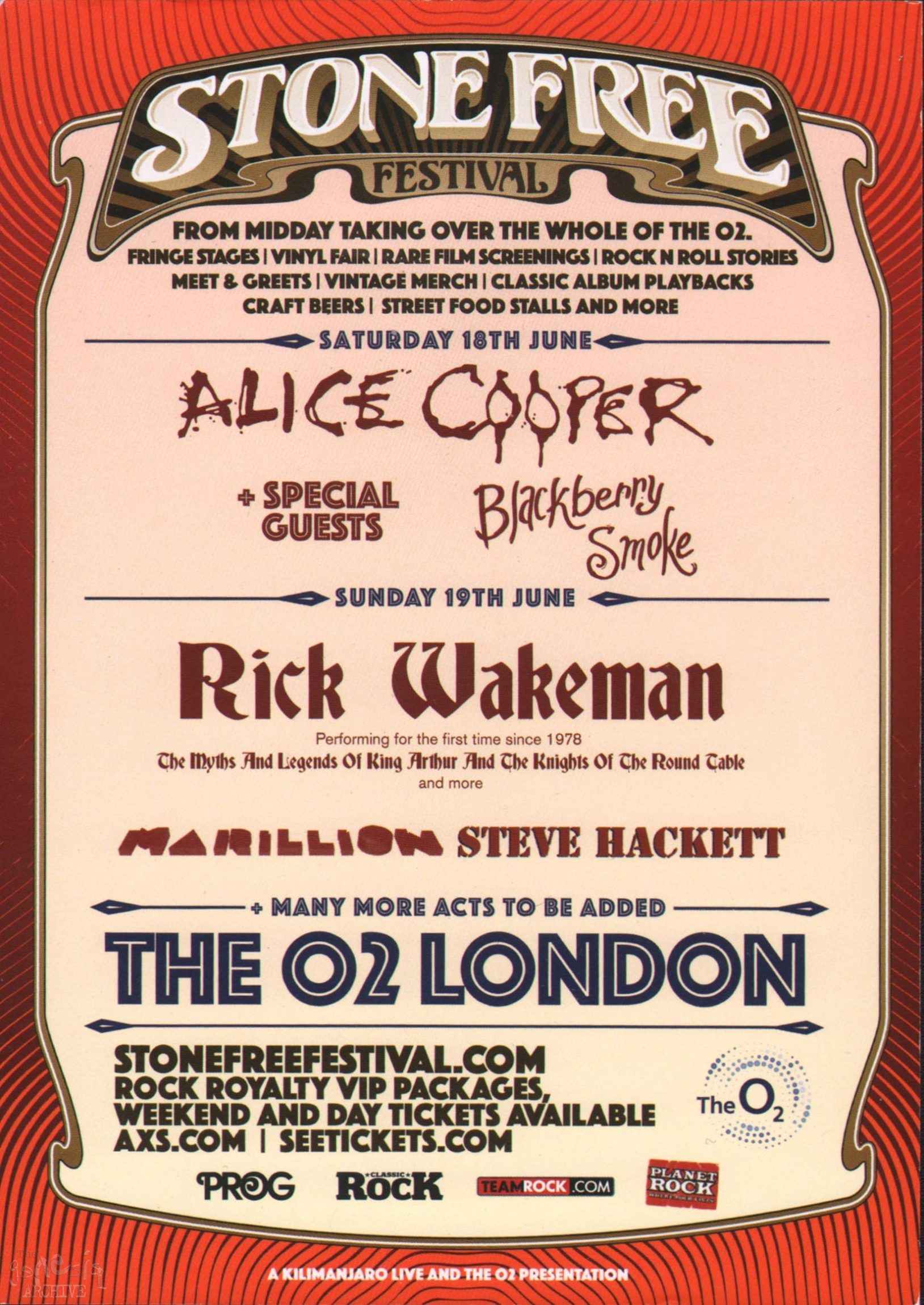 Steve Hackett Stone Free Festival 2016 The Genesis Archive